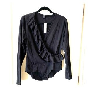 J.Crew Ruffle-front wrap bodysuit